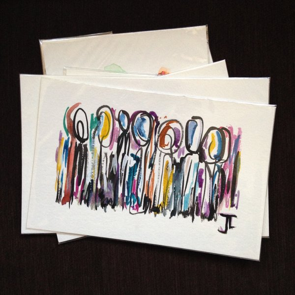 SOLD Mini abstract figures original watercolor and india ink