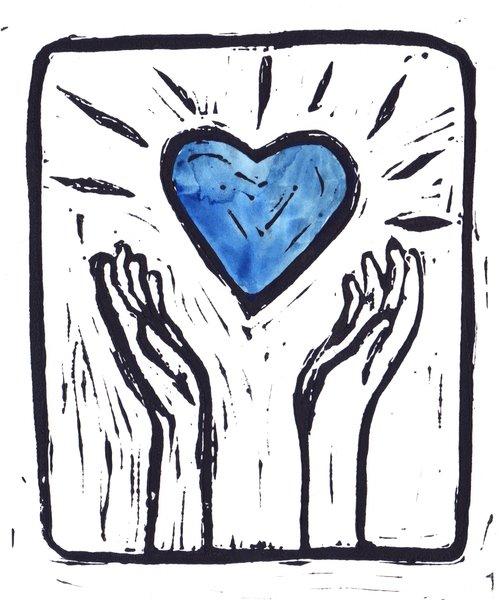"""5 x 7"""" Original Linocut Heart and Hands Blue Heart"""