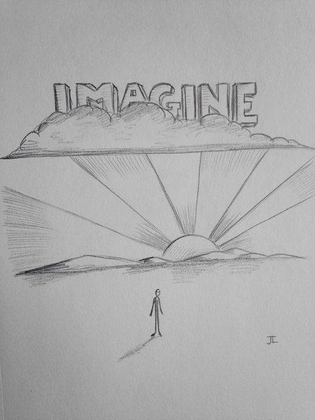 "Imagine 9x6"" graphite drawing"