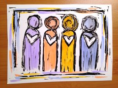 "4.5 x 6"" Original Heart People Linocut Colorful"