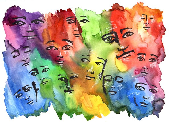 """SOLD """"With Love"""" Colorful faces 11x15"""" paper original watercolor"""