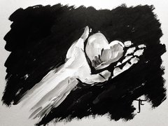 "9 x 12"" Original Hand with Heart - India Ink and Acrylic"