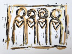 "4.5 x 6"" Original Heart People Linocut Gold Layers"