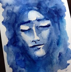 "SOLD Dream in Blue 9x12"" Original Watercolor"