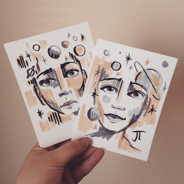 Space Twins Mini Pair - Two Ink Drawings