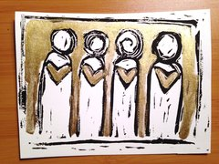 "4.5 x 6"" Original Heart People Linocut Golden Ink"