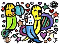"""Space Budgies Original Watercolor and India Ink 9x12"""""""