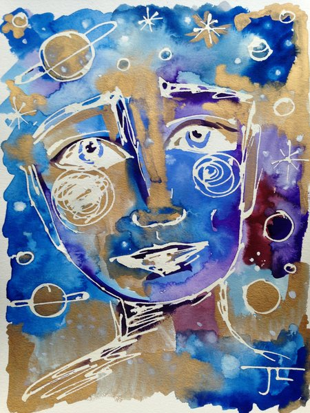 """9x12"""" Original Gold and Blue cosmic face"""