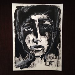 India ink and white charcoal boy 9x12""