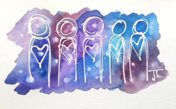 """SOLD Cosmic Heart People Mini 6x9"""""""
