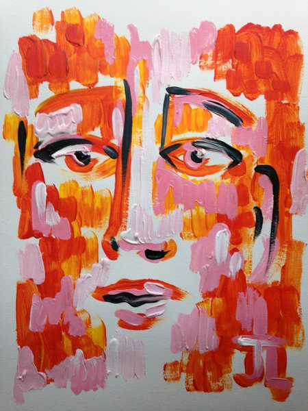 """11x15"""" Pink and Orange Face Acrylic Painting"""