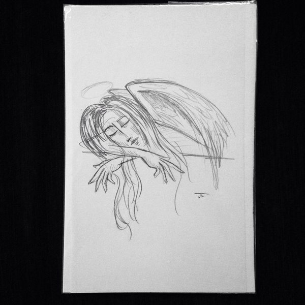 "Resting angel 9x6"" graphite drawing"