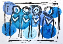 "4.5 x 6"" Original Heart People Linocut Blue"