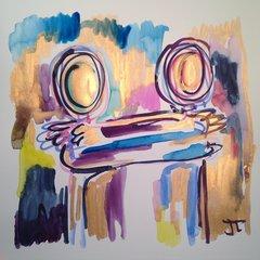 "Gold Embrace 12x12"" watercolor"
