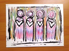 "4.5 x 6"" Original Heart People Linocut Colorful Variation"