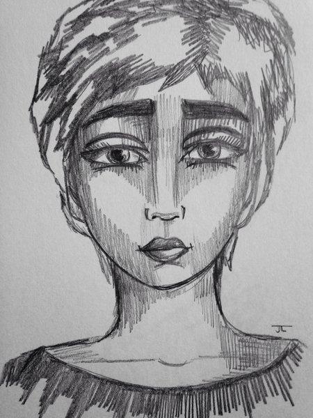"Edie-esque 9x6"" graphite drawing"