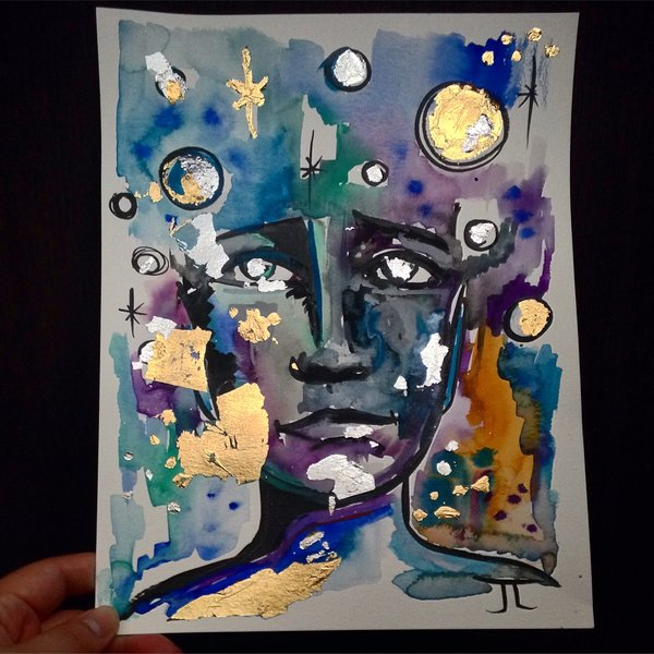 """SOLD 9x12"""" cosmic man gold and silver leaf original"""
