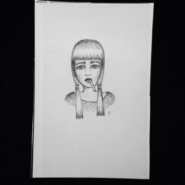 "Cigarette girl 9x6"" graphite drawing"