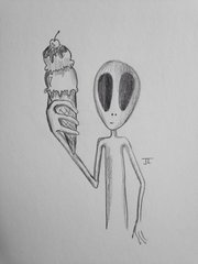 "Alien ice cream 9x6"" graphite drawing"