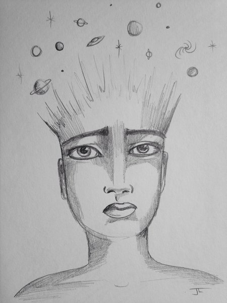 "Universe mind 9x6"" graphite drawing"