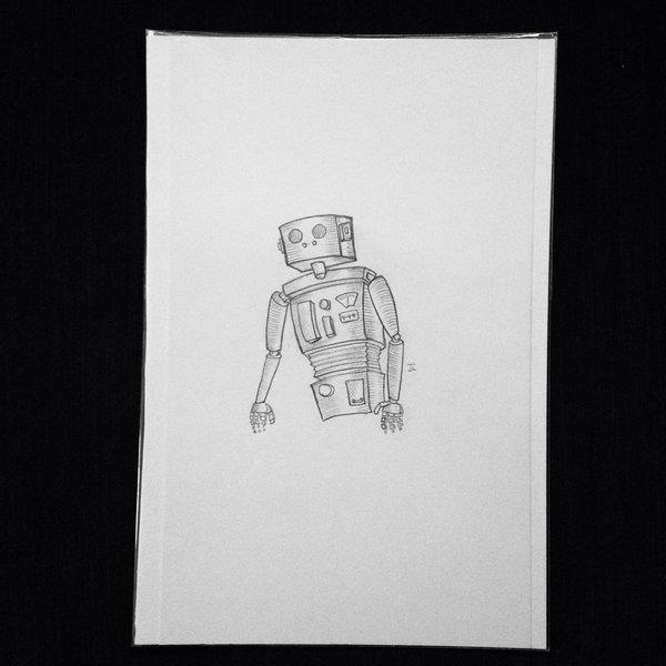 "Robot 9x6"" graphite drawing"