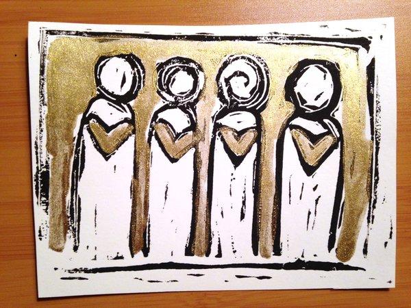 """4.5 x 6"""" Original Heart People Linocut Golden Ink"""