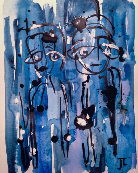 """Two figures in blue 11x15"""" India ink and watercolor"""