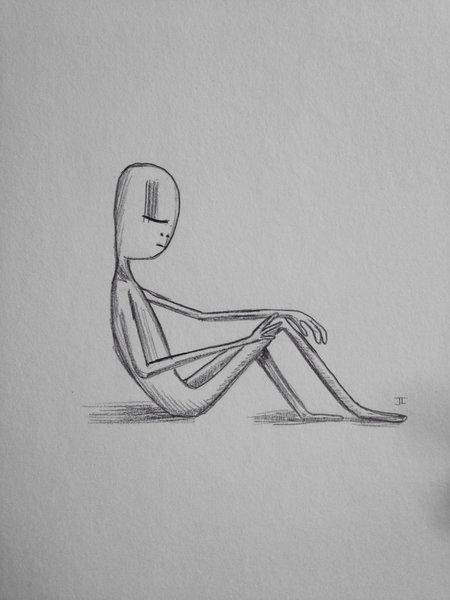 "Sitting figure 9x6"" graphite drawing"