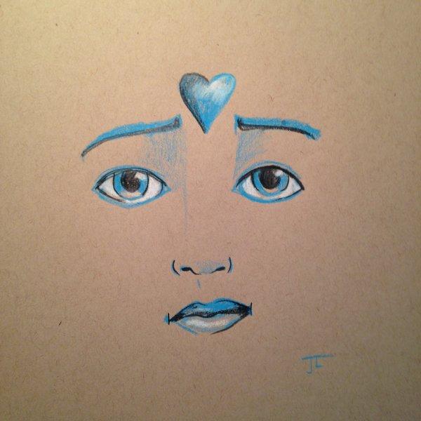 "Heart Face 8"" Square on Tan Paper Original"