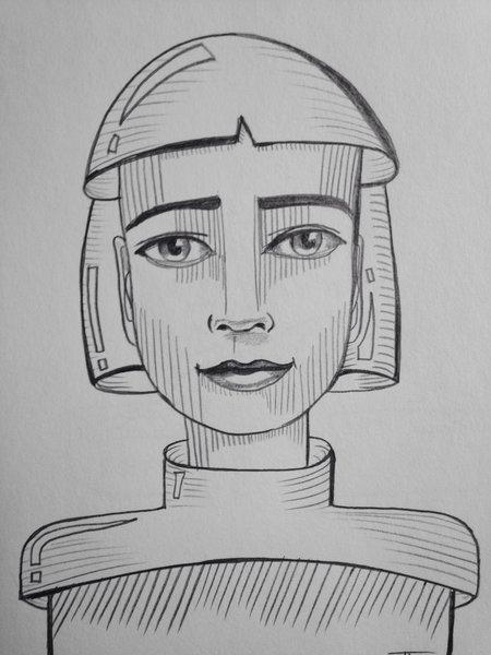 "Future girl 9x6"" graphite drawing"