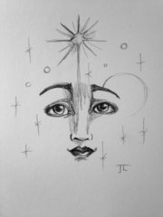 "Cosmic Stellar Face 6x9"" Paper Original Graphite Drawing"