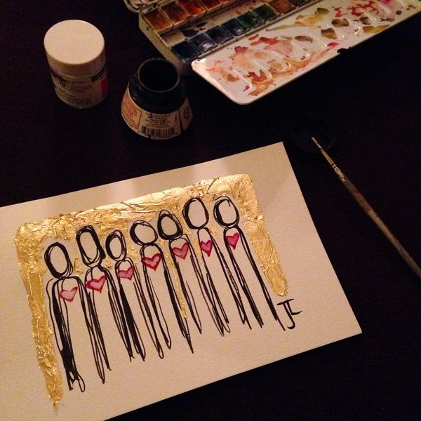 SOLD Heart people gold leaf mini watercolor
