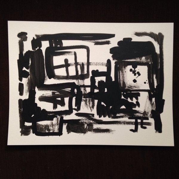 India ink abstract 9x12""