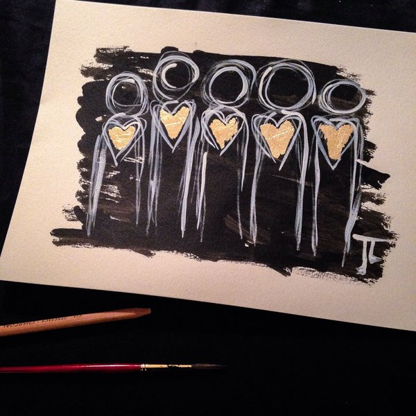 """Gold heart people 9x12"""" original India ink and watercolor with gold leaf"""