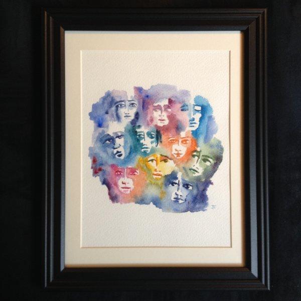 """SOLD 9x12"""" Faces Original Watercolor"""