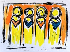 "4.5 x 6"" Original Heart People Linocut Orange Blue Yellow"