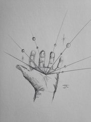 "Eminating hand 9x6"" graphite drawing"