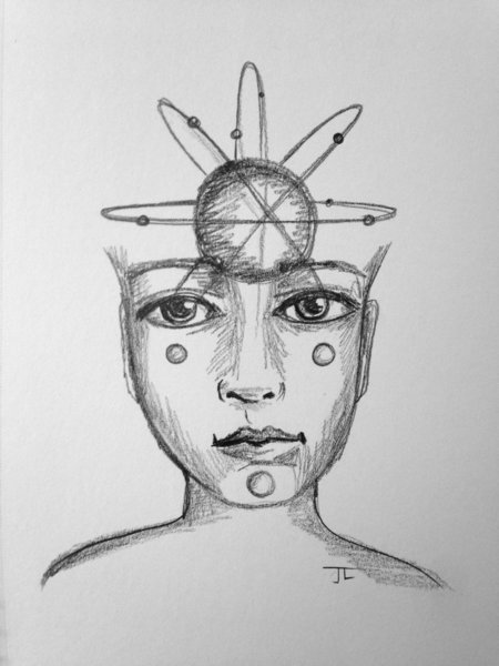 """Atomic Face of the Universe 6x9"""" Paper Original Graphite Drawing"""
