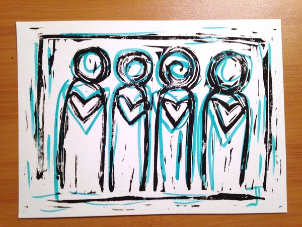 "4.5 x 6"" Original Heart People Linocut Teal"