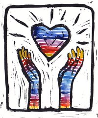 "5 x 7"" Original Linocut Heart and Hands Rainbow Striped"