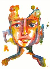 "Colorful Face 9x12"" Original Watercolor"