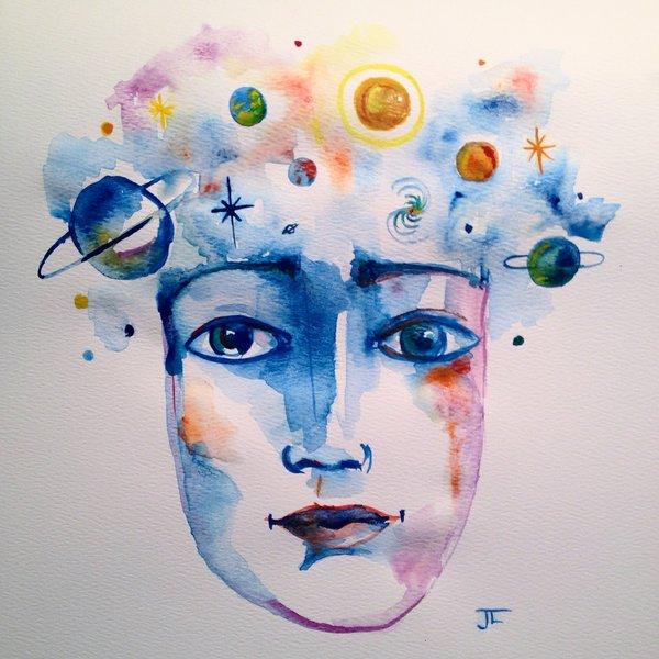 "SOLD 9x12"" Original Cosmic Head"