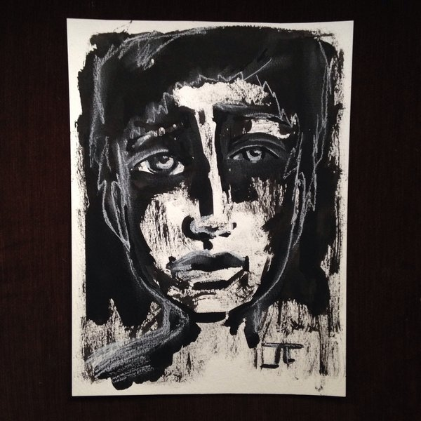 """India ink and white charcoal boy 9x12"""""""
