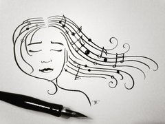 Musical Notes Woman Original Ink 6x9""
