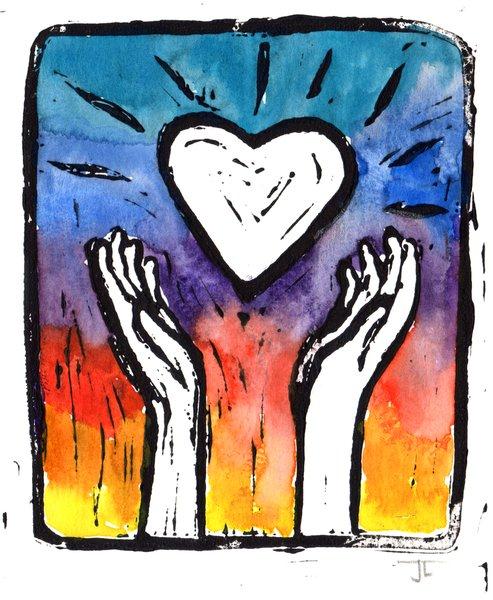 "SOLD 5 x 7"" Original Linocut Heart and Hands Rainbow"
