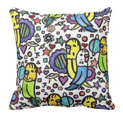 Space Budgies Throw Pillow