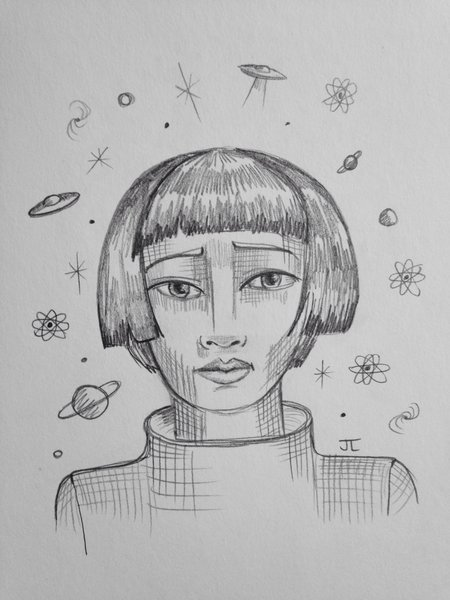 "Cosmic girl 9x6"" graphite drawing"