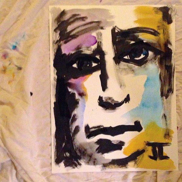 "SOLD Face 18x24"" original watercolor"