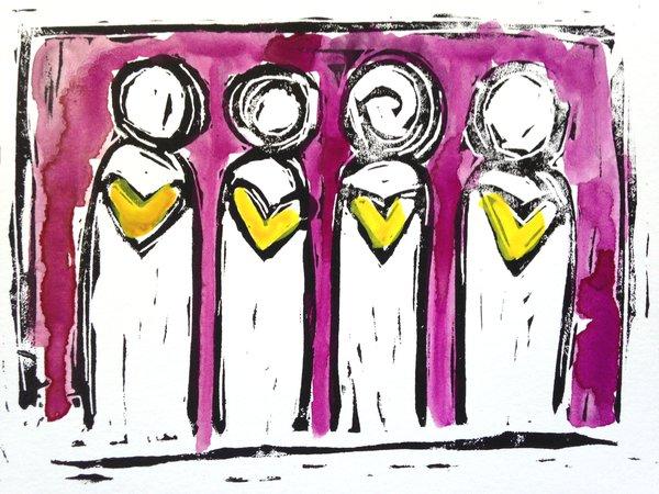 "4.5 x 6"" Original Heart People Linocut Plum and Yellow"