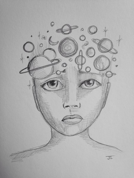"""Cosmic mind 9x6"""" graphite drawing"""